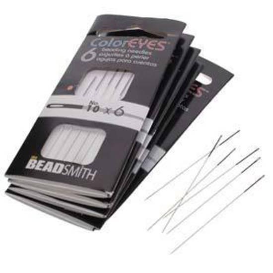 NEW! Beadsmith ColourEye Needles, 6 pack: Size 10 (black)