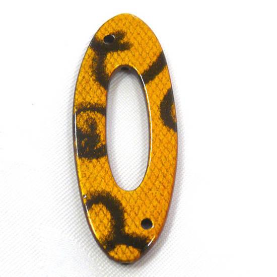 Acrylic Donut Style Piece, yellow oval, snake like markings