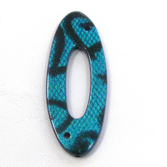 Acrylic Donut Style Piece, aqua oval, snake like markings