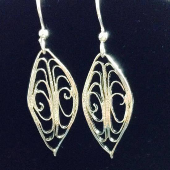 EARRINGS: Filigree Leaf, silver