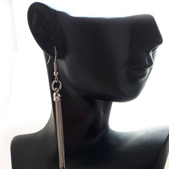 EARRING: Plain slim chain tassel - Silver