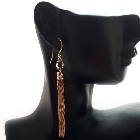 EARRING: Plain slim chain tassel - Gold