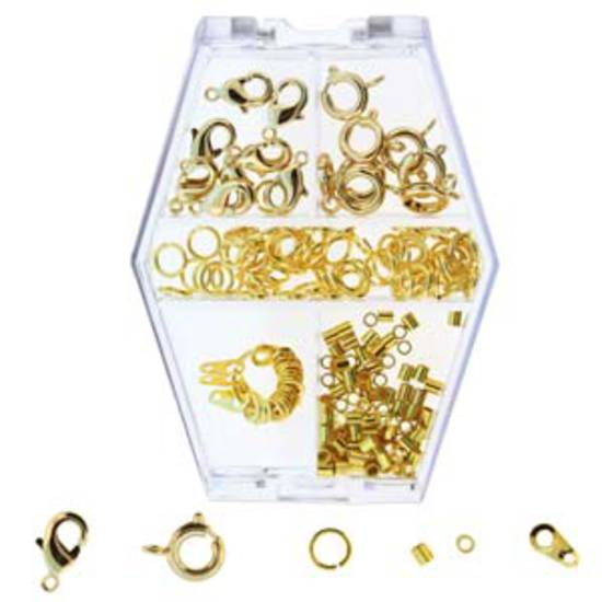 Assorted findings box: gold tone