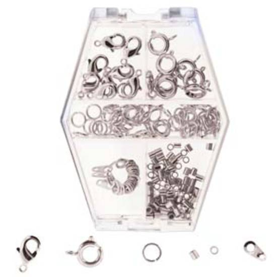 Assorted findings box: silver tone