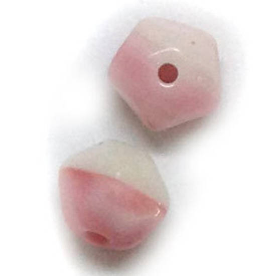 7mm facet - Pink/White opaque