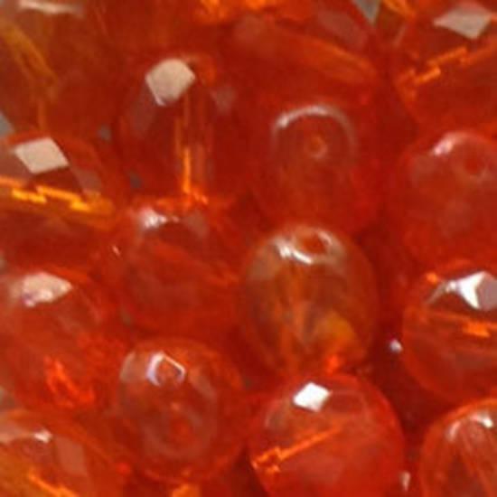 Czech Firepolished Facet: 10mm - Orange