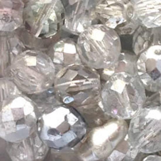 Czech Firepolished Facet: 10mm - Crystal/Silver