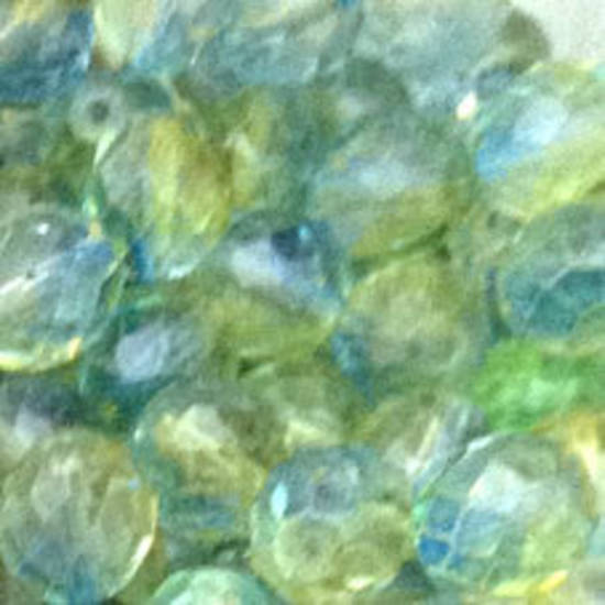 Czech Firepolished Facet: 10mm - Two Tone Aqua/Green