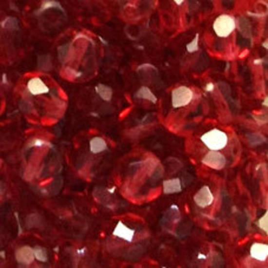 Czech Firepolished Facet: 6mm - Ruby