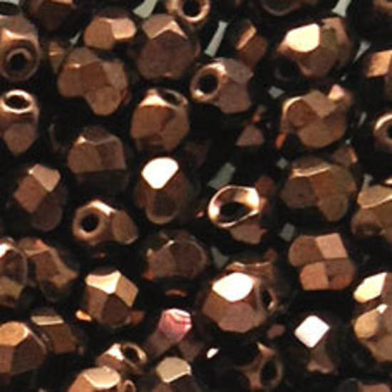Czech Firepolished Facet: 6mm - Metallic Bronze (coated)