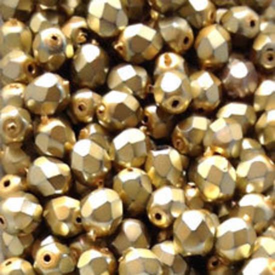 Czech Firepolished Facet: 6mm - Metallic Light Gold (coated)