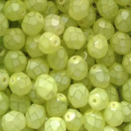 Czech Firepolished Facet: 6mm - Milky Lime (coated)
