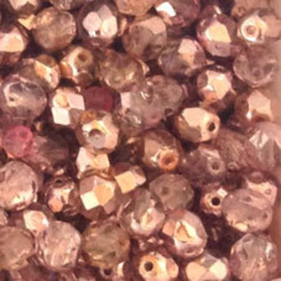 Czech Firepolished Facet: 6mm - Light Amethyst/Pink metallic