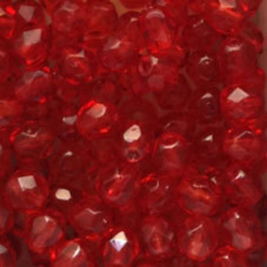 Czech Firepolished Facet: 6mm - Light Red Shimmer