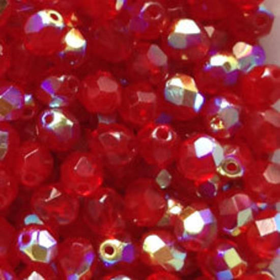 Czech Firepolished Facet: 6mm - Red AB