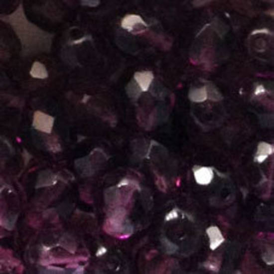 Czech Firepolished Facet: 8mm - Amethyst
