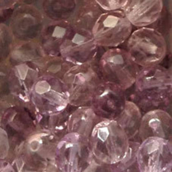 Czech Firepolished Facet: 8mm - Two Tone Light Amethyst