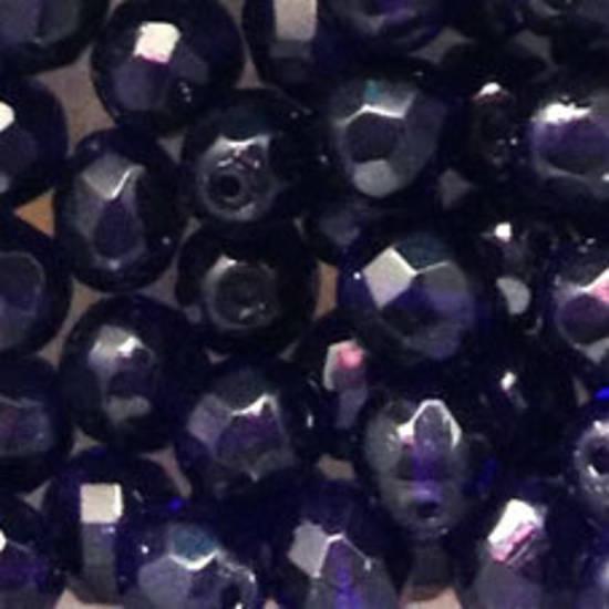 Czech Firepolished Facet: 8mm - Deep Purple Blue