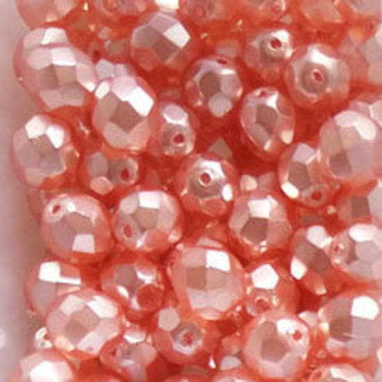 Czech Firepolished Facet: 8mm - Satin Pink (coated)