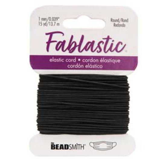 Fablastic round stretch cord: 1mm, black