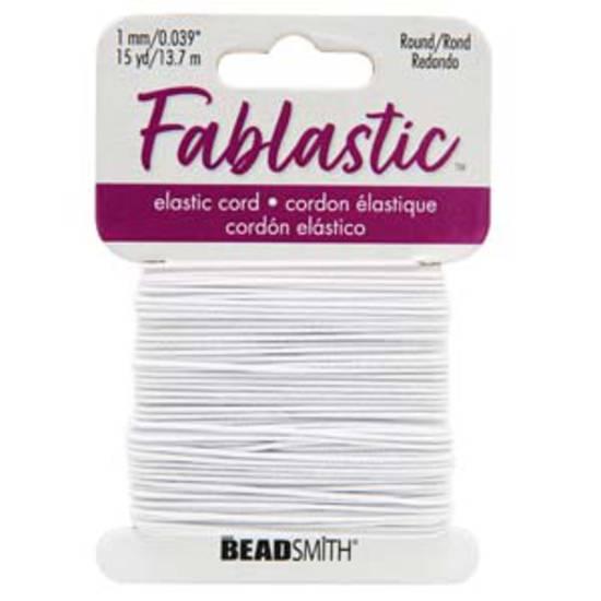 Fablastic round stretch cord: 1mm, white