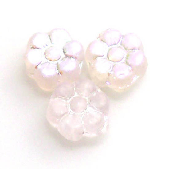 Flat Flower, 8mm - Pink frosted AB