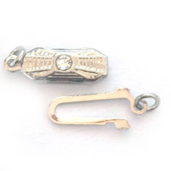 Fish Clasp: Rectangular deco style with diamante - Antique Silver