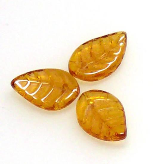 Flat Leaf, 8mm x 12mm - Amber
