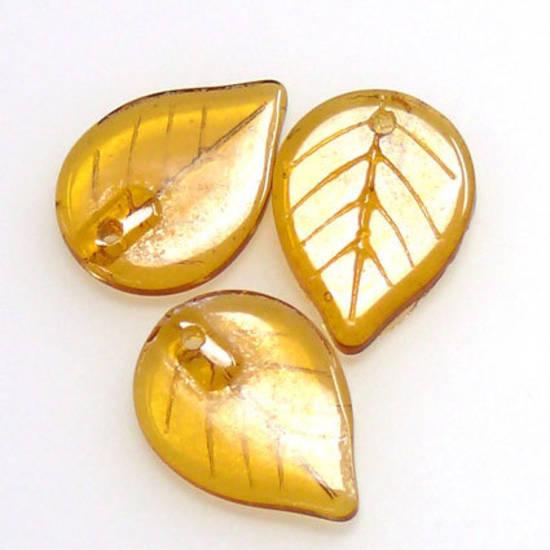 Flat Leaf, 13mm x 18mm - Amber