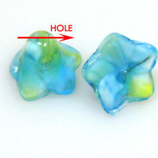 Glass Flower, 12mm, bottom drilled - Multi aqua/yellow/white