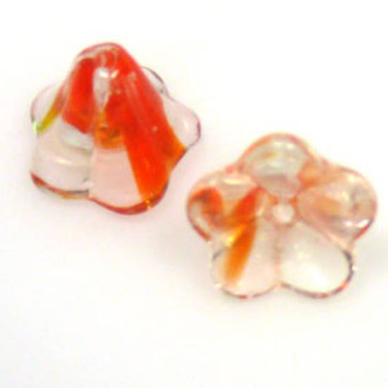 Glass Trumpet Flower, 12mm - Clear/orange