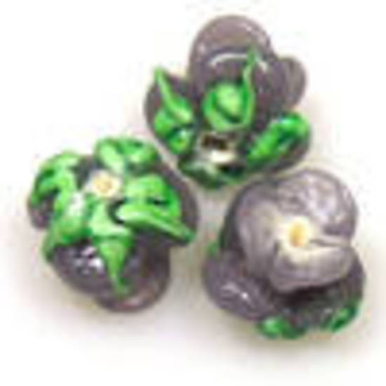 Lampwork Bud Flower, 12mm - Purple