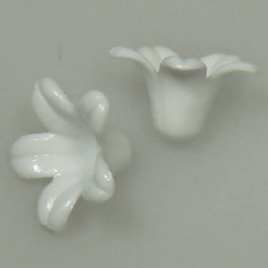Acrylic Tulip Flower, 10mm x 12mm - Opaque White