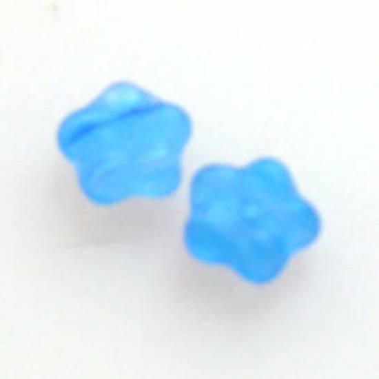 NEW! Flat Flower, 6mm - Blue/Clear matte multi