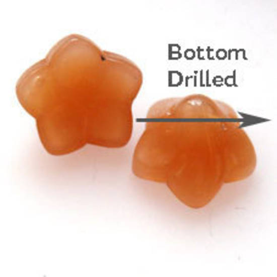 NEW! Glass Flower, 12mm,  bottom drilled - Opaque Caramel