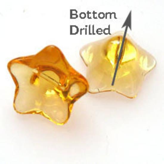 NEW! Glass Flower, 12mm,  bottom drilled - Transparent Amber