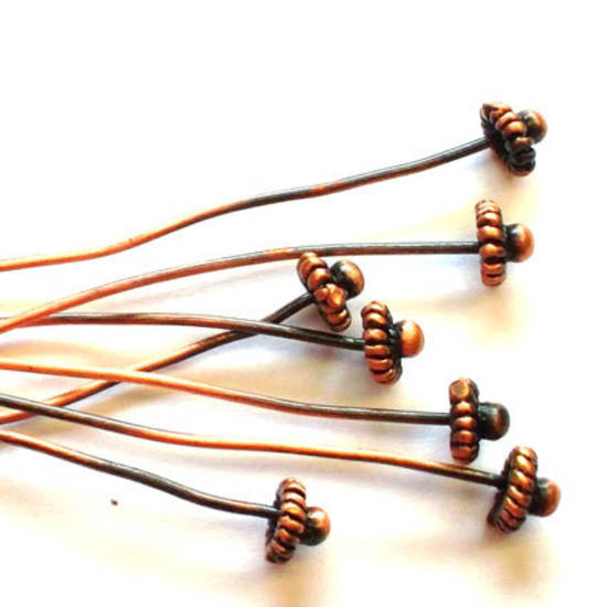 Fancy Headpin with flower head - Antique Copper