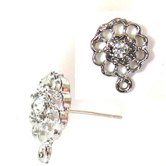 Diamante Flower Stud - antique silver