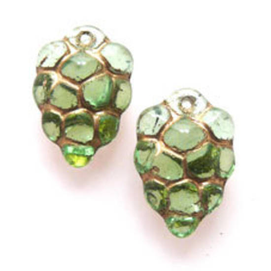 NEW! Glass grape Cluster, 10mm x 16mm - Green and Gold