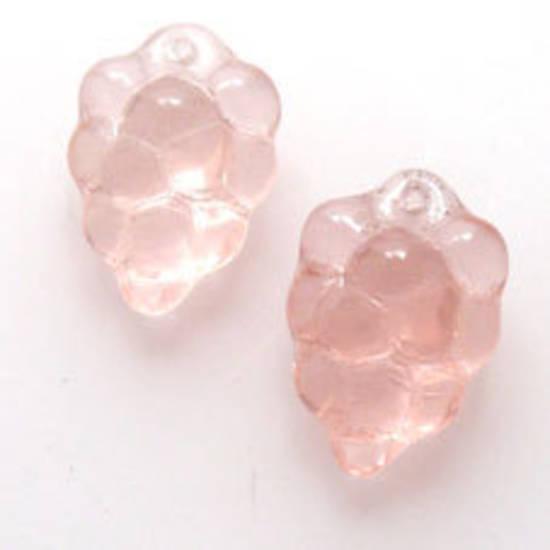 NEW! Glass grape Cluster, 10mm x 16mm - Lt Pink