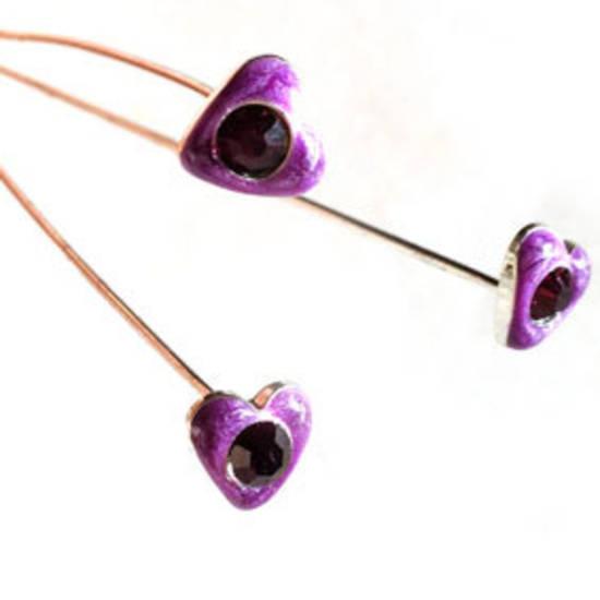 Diamante Headpin - purple heart