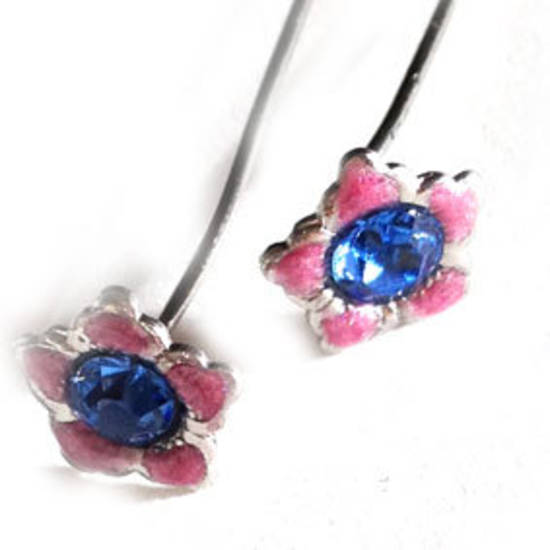 Diamante Headpin - pink and blue flower