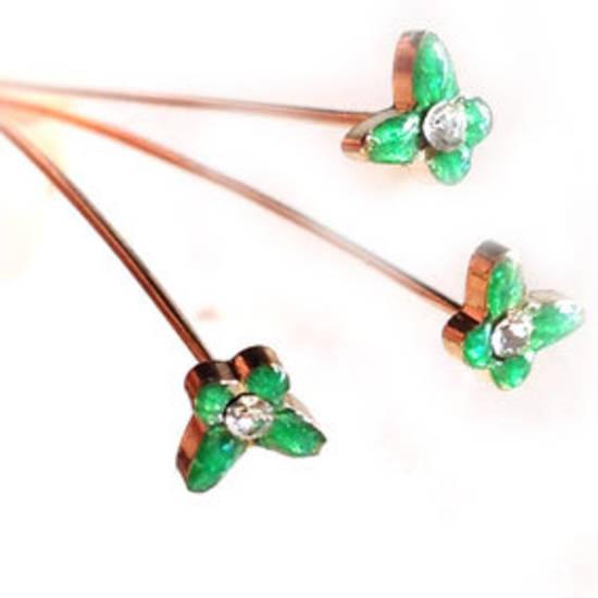 Diamante Headpin - green butterfly