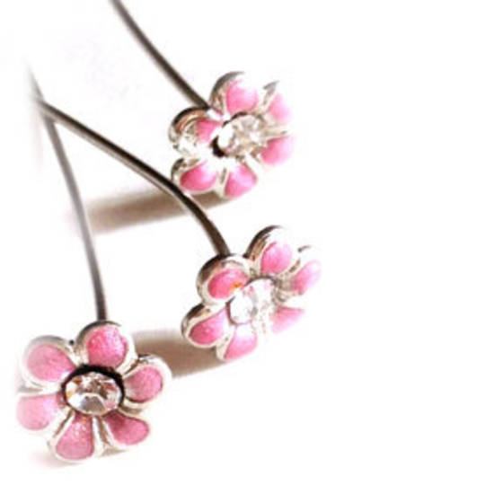 Diamante Headpin - mauve flower