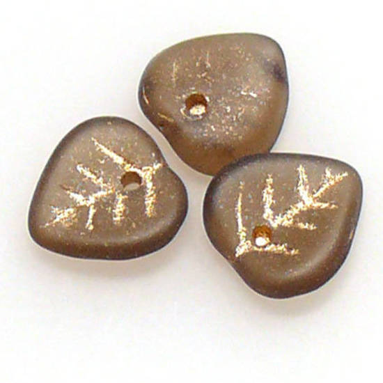 Small Heart Leaf, 9mm - Olivine frosted, gold lines