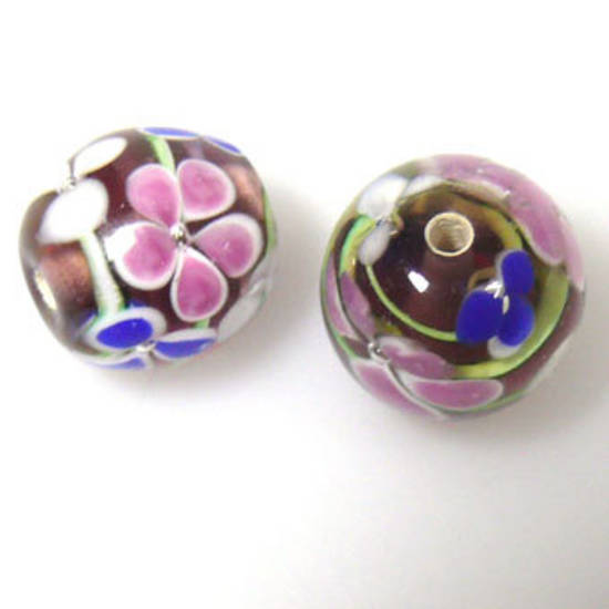Indian Lampwork, round, amethyst with pink, white, blue flower pattern and green lines