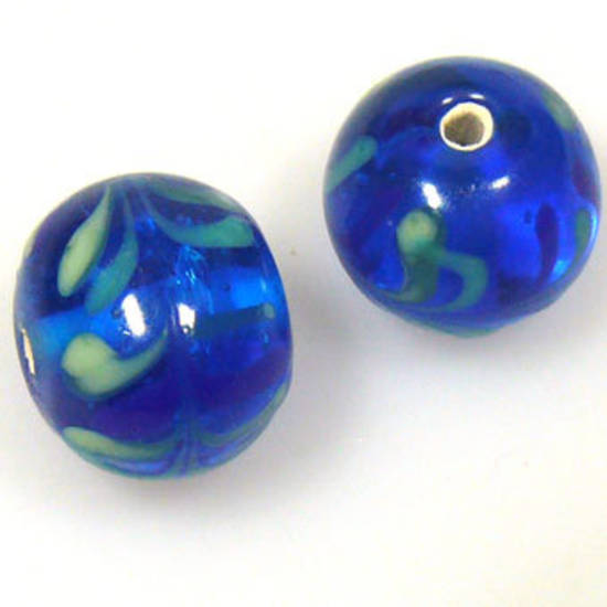 Indian Lampwork, round, transparent capri blue with blue and green feathered designs