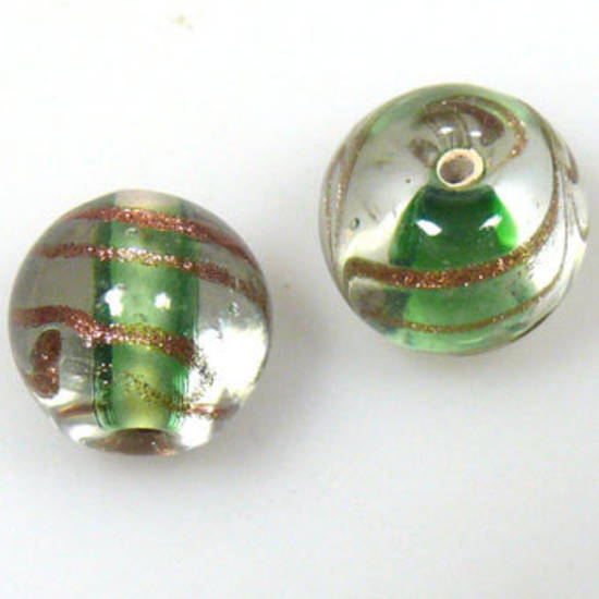 Indian Lampwork, round, transparent with green core and gold feathered patterns