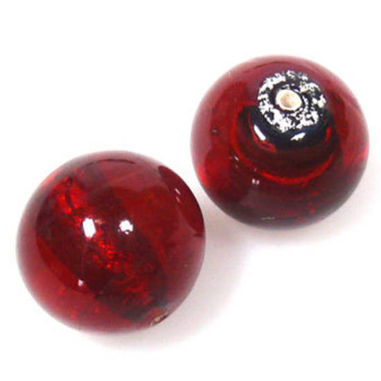 Indian Lampwork, round, red with silver foil