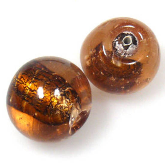 Indian Lampwork, round, amber core with silver foil, transparent outer layer